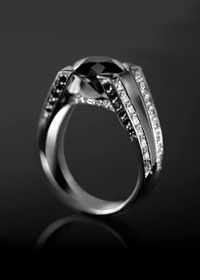 Bague SOLITAIRE EIFFEL black & white